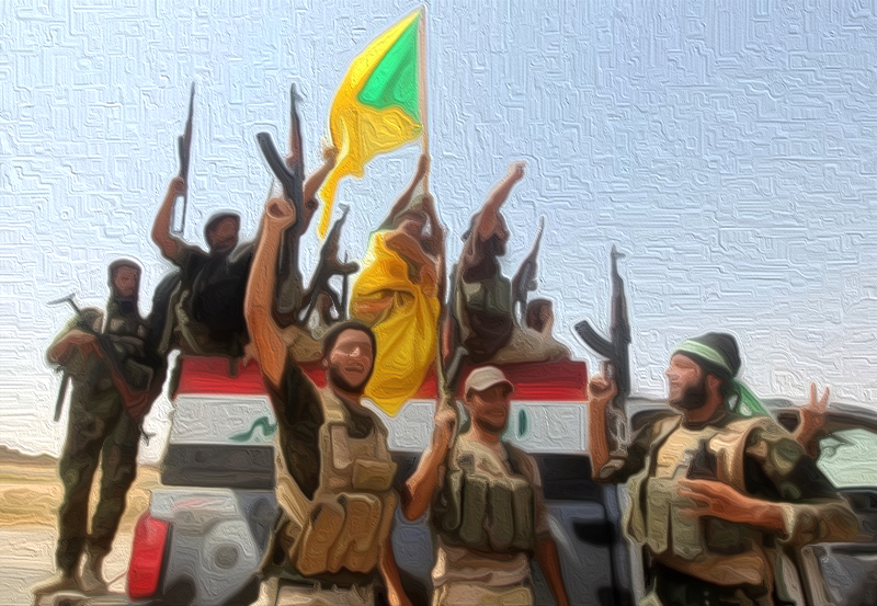 Kata'ib Hezbollah ( Arabic : كتائب حزب الله‎‎, Brigades of the Party of God fighting in Iraq, Photographer: Ahmad al-Rubaye/AFP/Getty Image  via  BloomBerg)