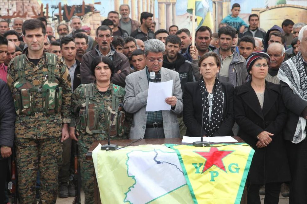 "Image via Rojava Defense Units/Twitter : ""Joint statement of Autonomous Afrin Canton's Administration regarding the invading forces' attacks and resistance in  # Afrin  : ""The heroic resistance of Afrin against the Turkish army and their partners, remnants of Daesh and al-Nusra, has entered its 58th day."""