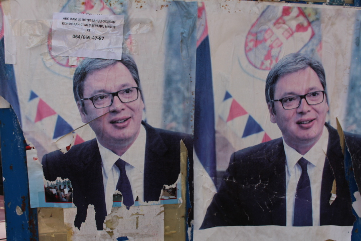© Matthew Williams/The Conflict Archives: A poster of Aleksandar   Vučić, President of Serbia in northern Mitrovica.