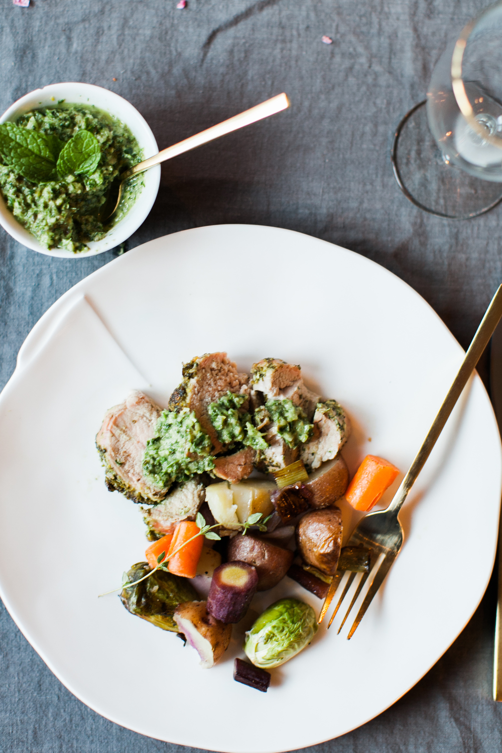 Easter Dinner | Herb Stuffed and Crusted Pork Tenderloin | Feast & Dwell