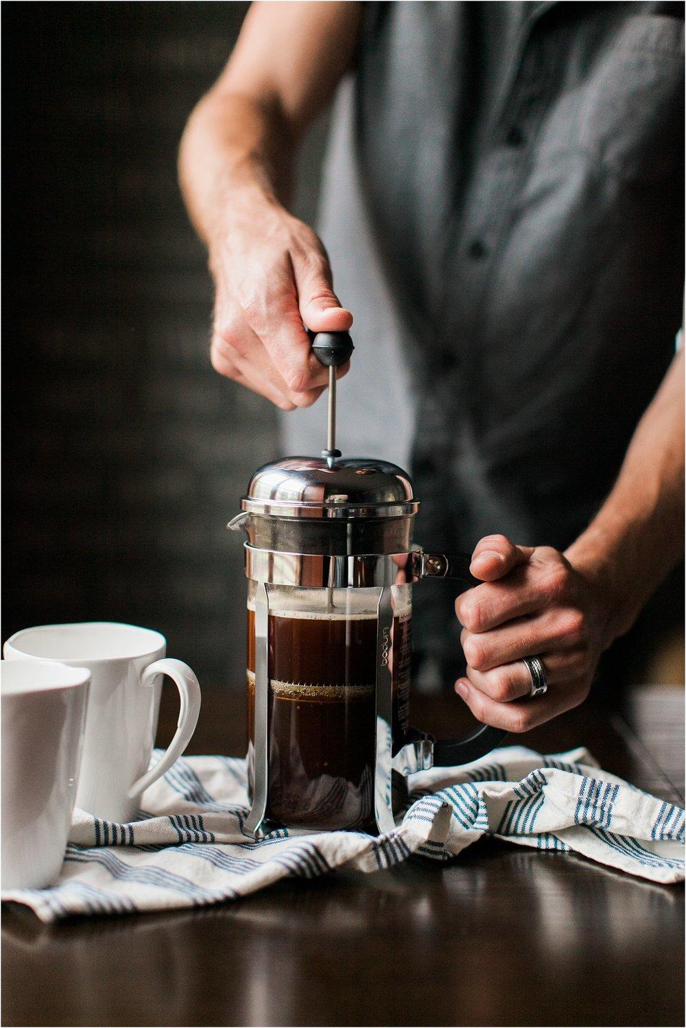 French Press Coffee + Dairy free Oat+Vanilla Creamer | Feast & Dwell