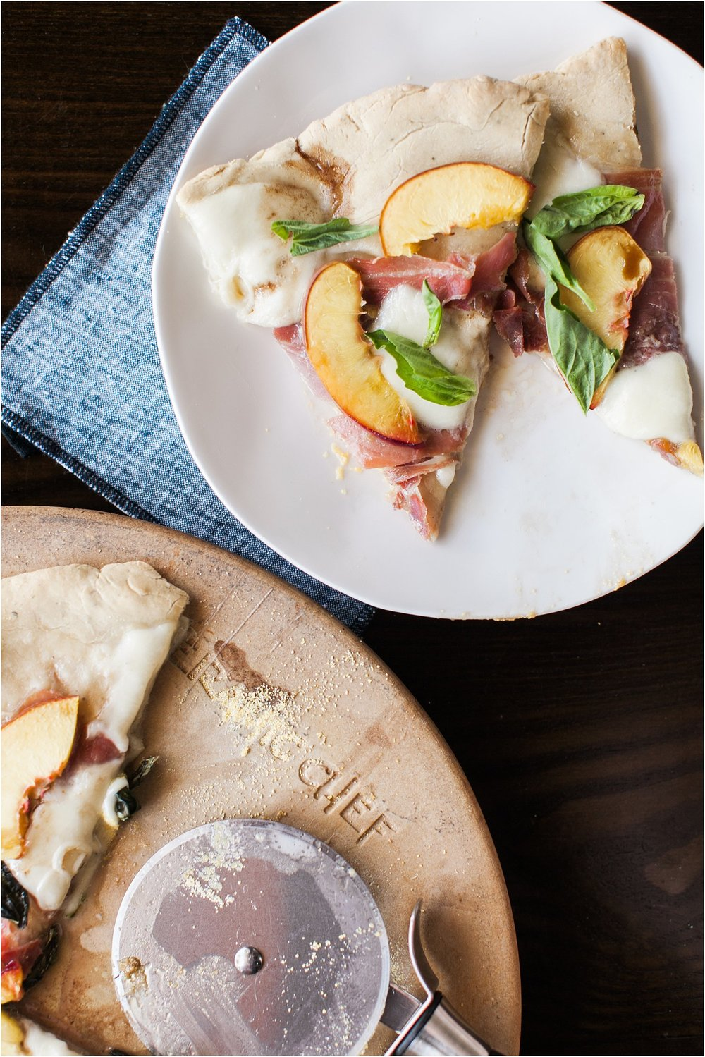 Nectarine, Prosciutto, Mozzarella, Basil Pizza with Honey Balsamic | Feast & Dwell
