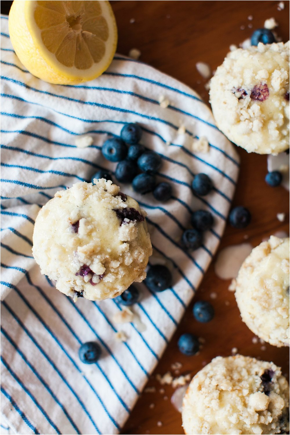 Gluten Free Blueberry Lemon Muffins with Streusel and Lemon Glaze | Feast & Dwell