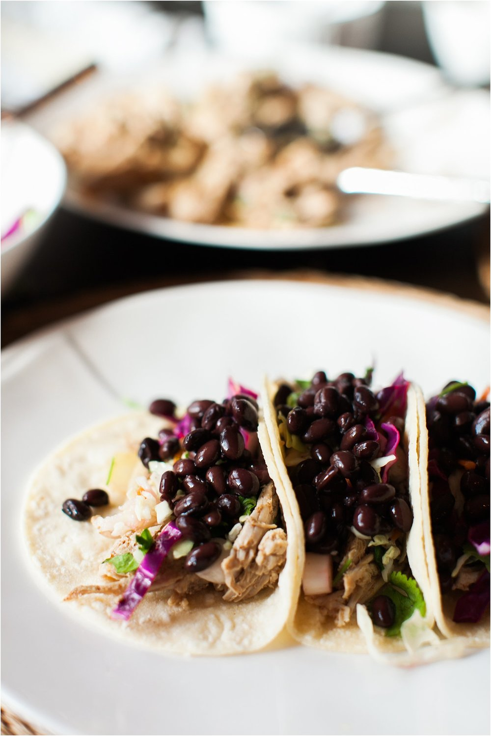 Slow Cooker Shredded Pork Tacos with Cilantro Lime Coleslaw | Feast & Dwell
