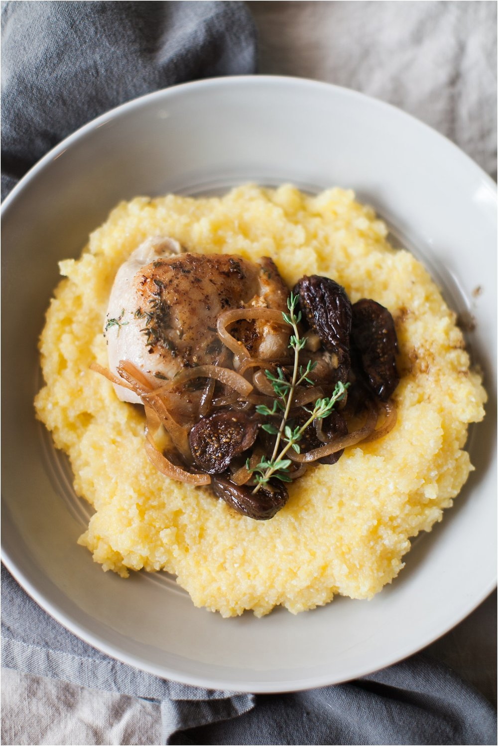 Herbed Chicken Thighs & Balsamic Fig Sauce with Polenta | Feast & Dwell