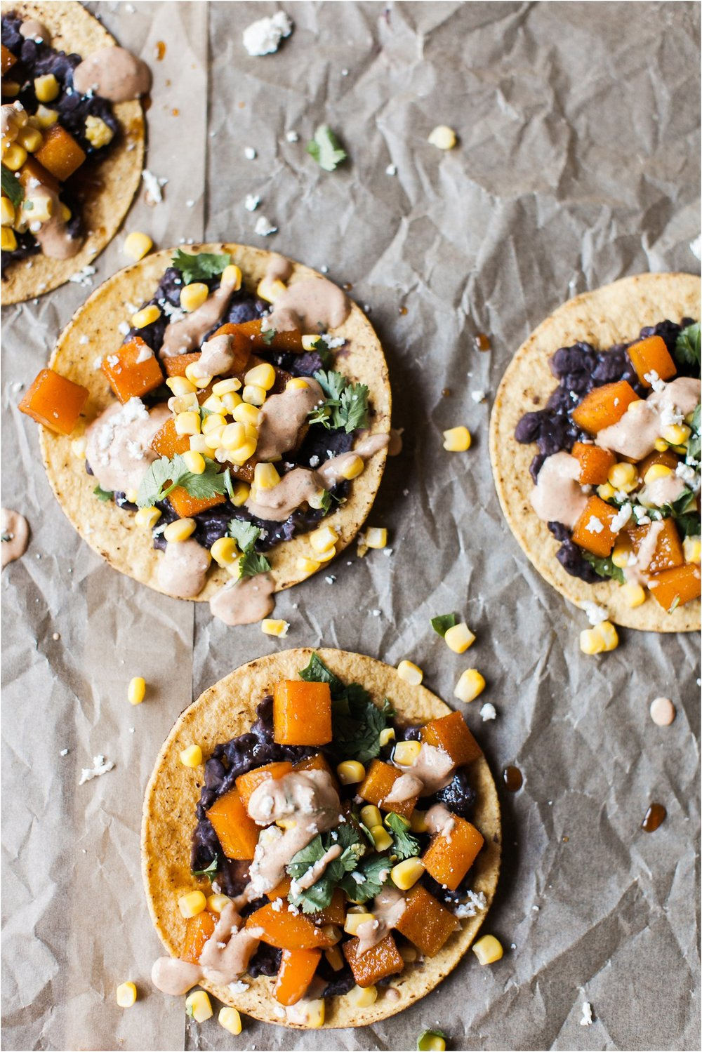 Butternut Squash & Black Bean Tostadas with Chipotle Lime Sauce | Feast & Dwell