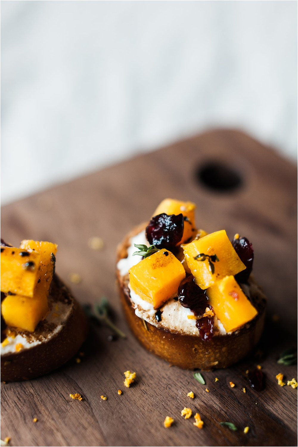 Butternut Squash Crostini with Orange Ricotta and Cranberries | Feast & Dwell