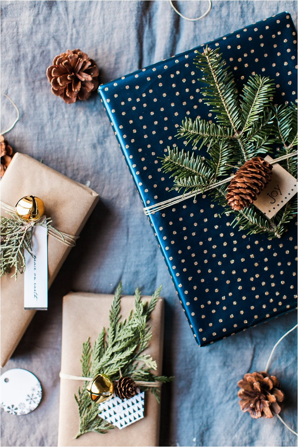 Natural Gift Wrap Inspiration with a Hint of Holiday Glam + A Free Printable | Feast & Dwell