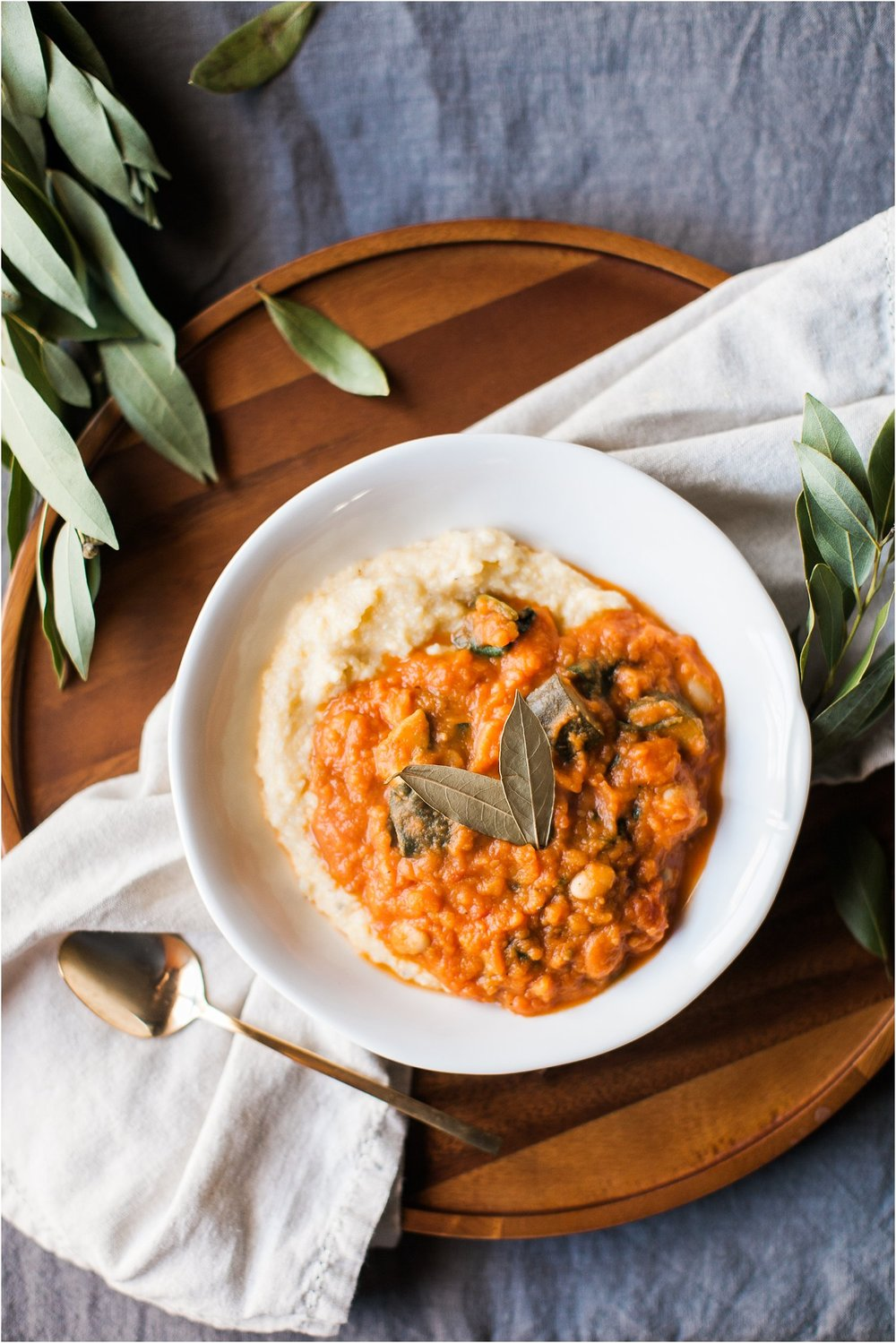 Sweet Potato & White Bean Stew with Creamy Polenta | Feast & Dwell