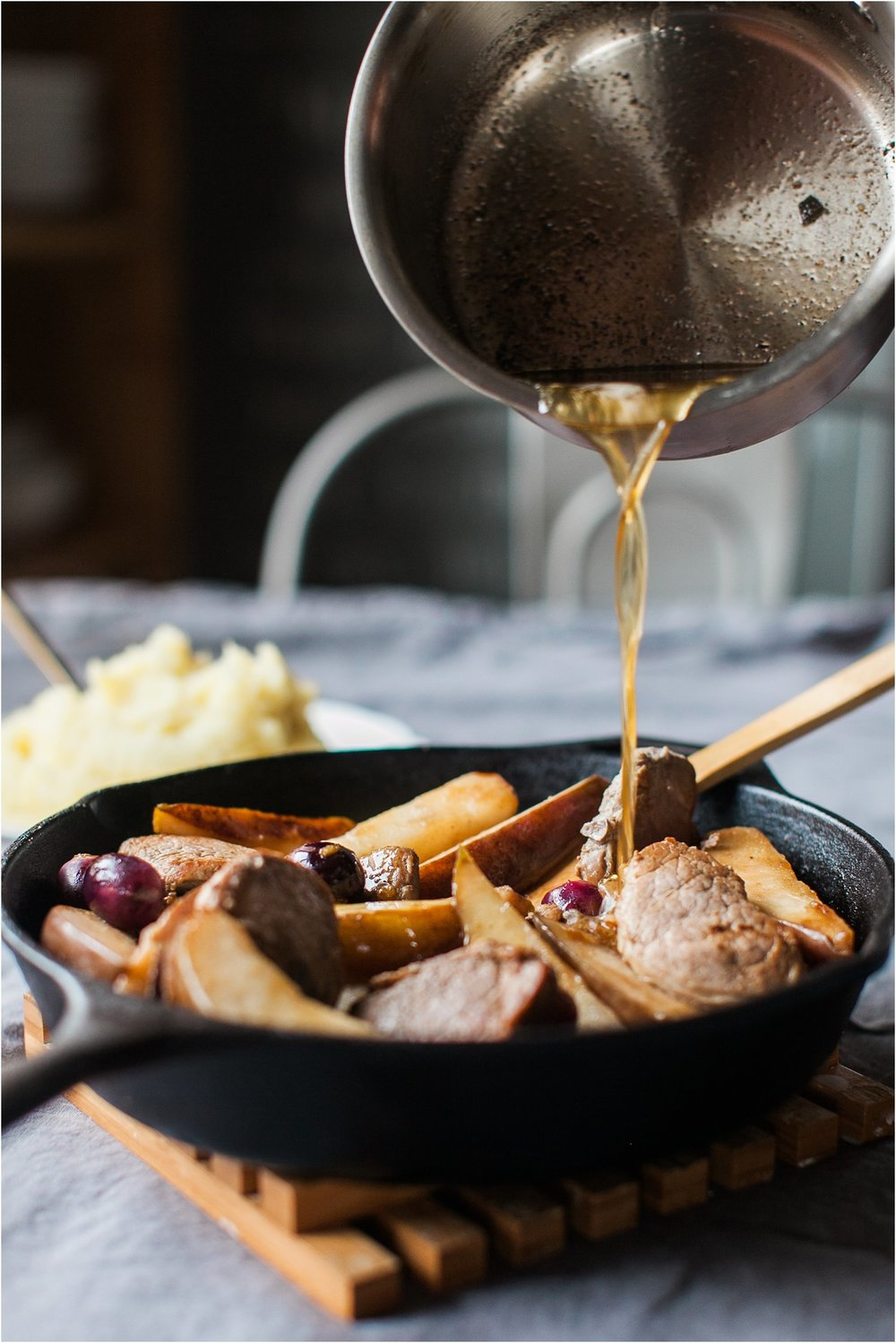 Pork & Pears with Brown Butter Sage Sauce & Garlic Mashed Potatoes | Easy Dinner | Feast & Dwell