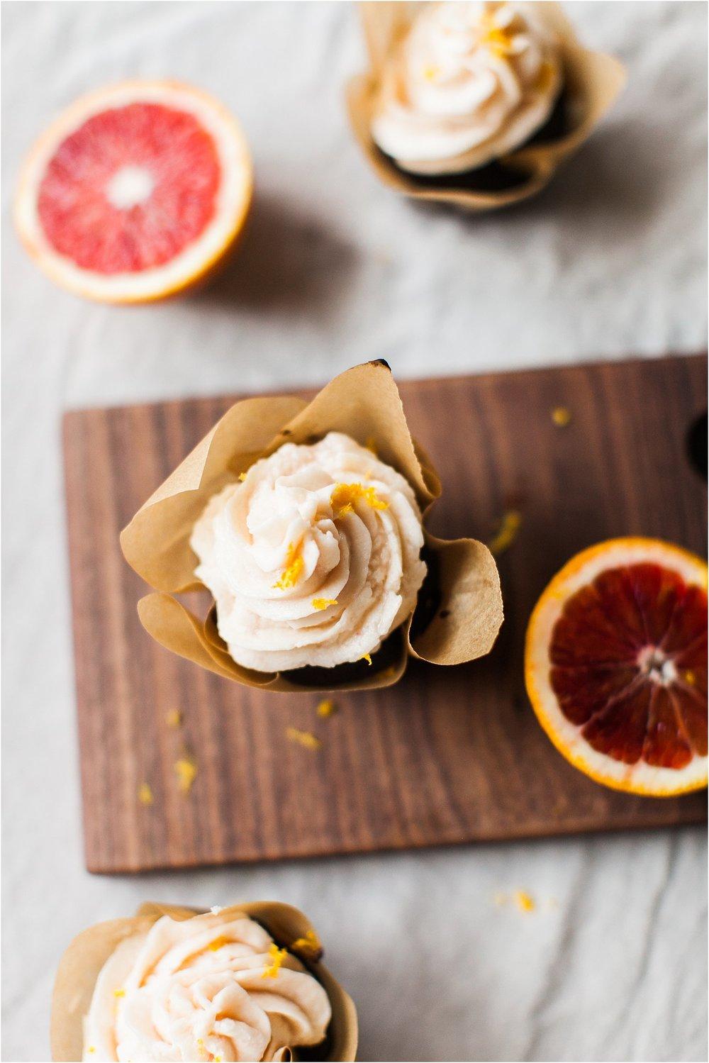 Gluten Free Blood Orange Chocolate Cupcakes with Blood Orange Buttercream | Feast & Dwell