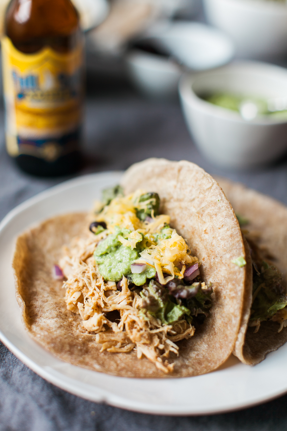 Crockpot Smoked Cheddar & Beer Shredded Chicken Tacos with Creamy Avocado Salsa | Feast & Dwell