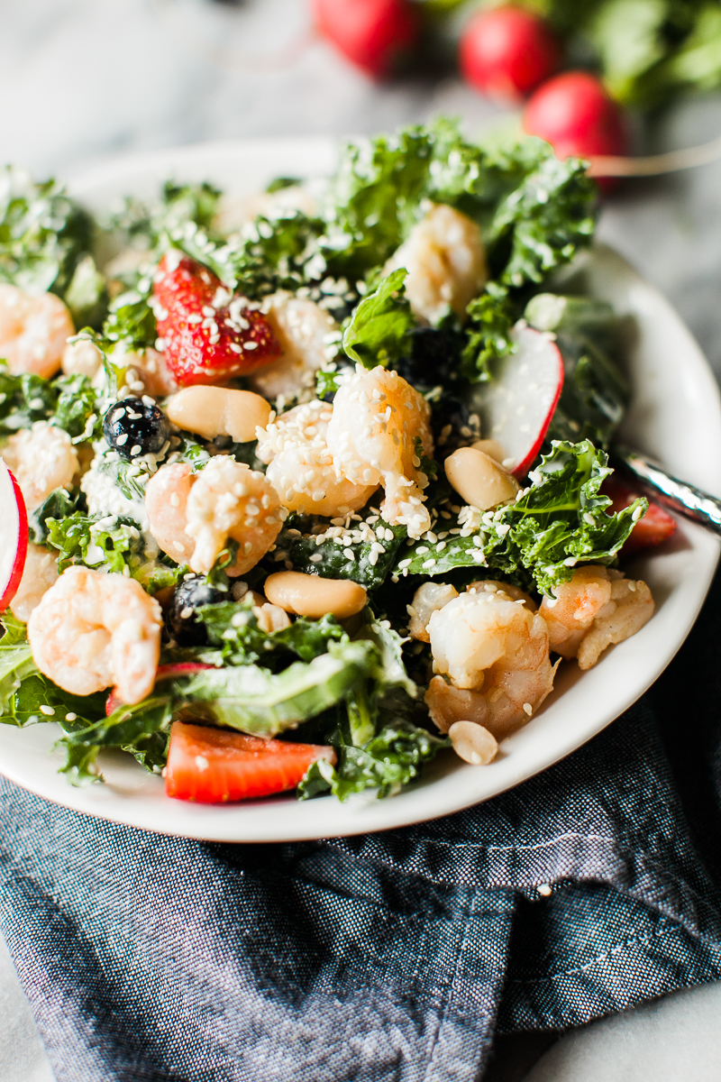 Kale & Shrimp Salad with Tahini Dressing - Salad Recipe - Healthy Lunch Recipe - Easy Lunch Recipe