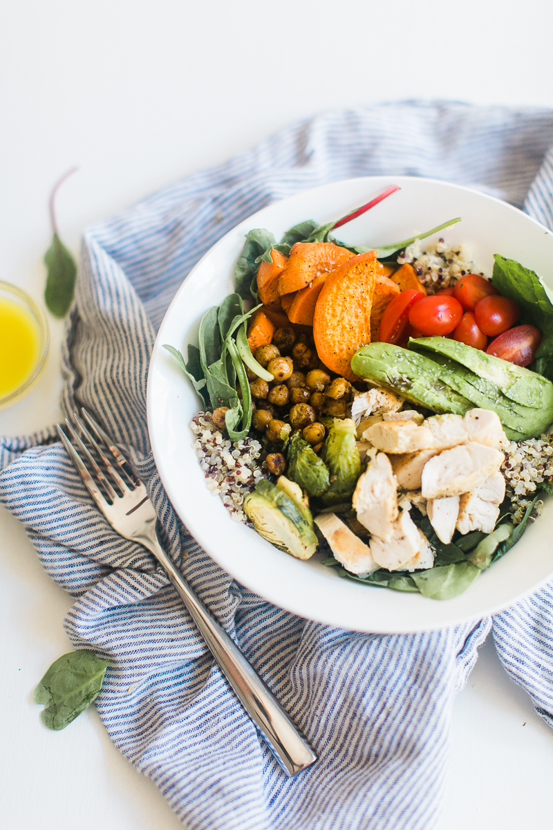 Chicken & Quinoa Lunch Bowl with Roasted Chickpeas, Sweet Potatoes, and Dijon Vinaigrette | Lunch Recipe