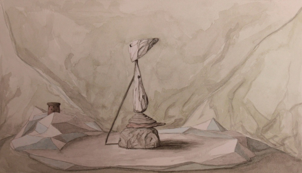 The Pilgrim, Watercolour on paper, 24x14cm, 2010
