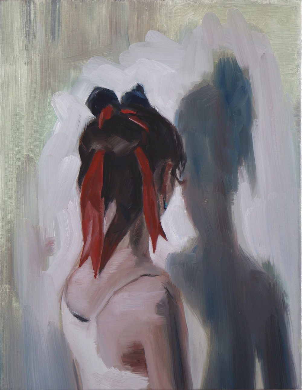 The Red Ribbon, Oil on linen, 45 x 35cm, 2016