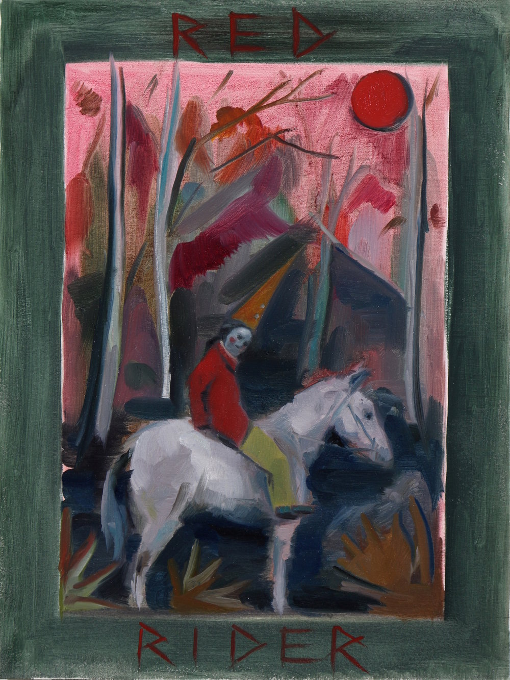 Red Rider, Oil on paper, 41x31cm, 2016