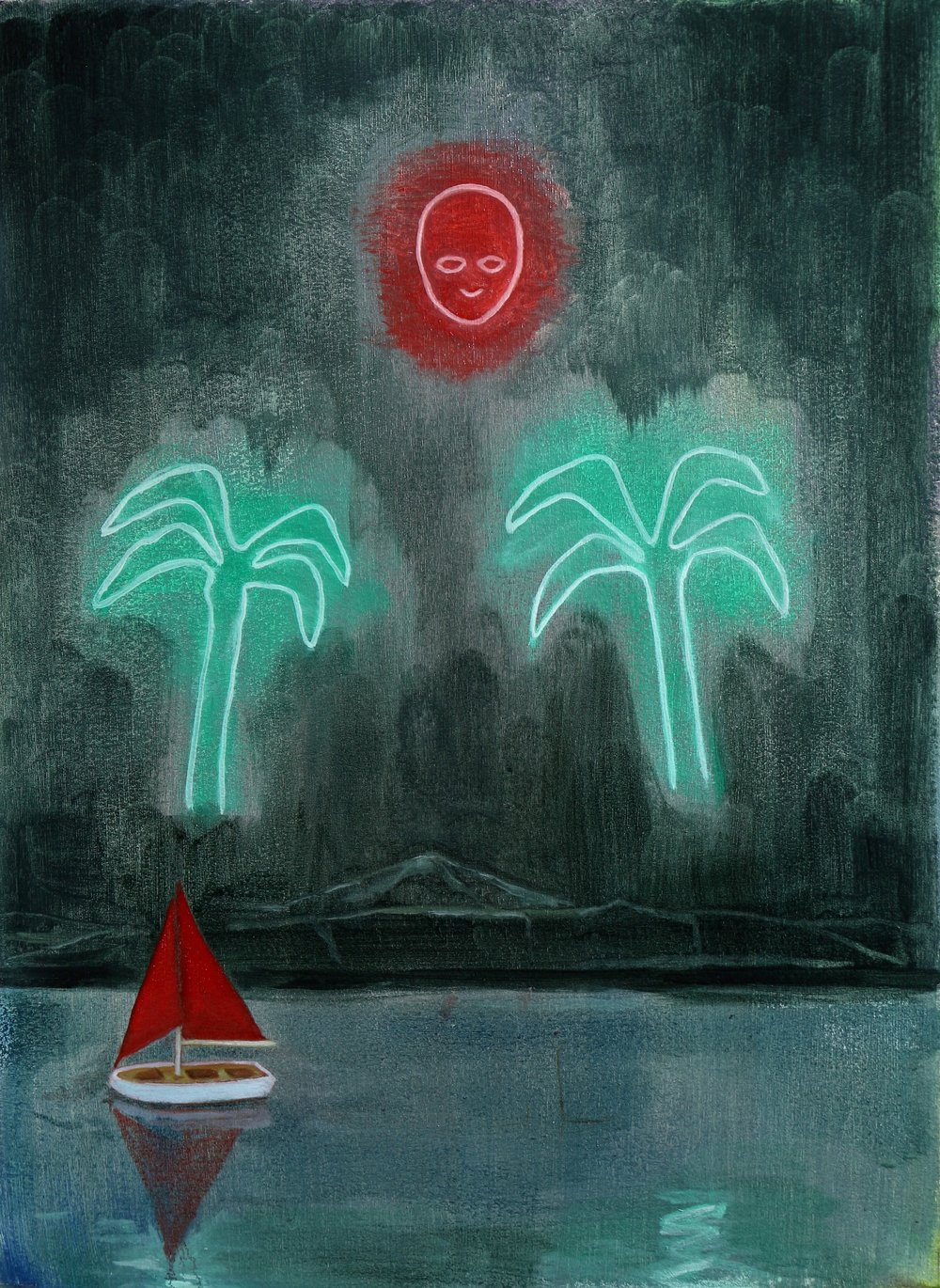 Neon Island, Oil on paper, 40x30cm, 2017