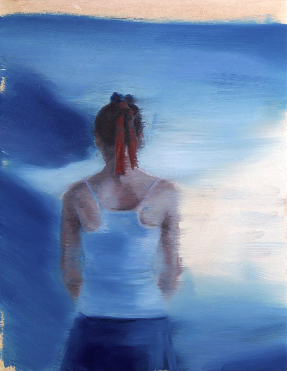 The Blue Screen, Oil on linen, 45x35cm, 2017