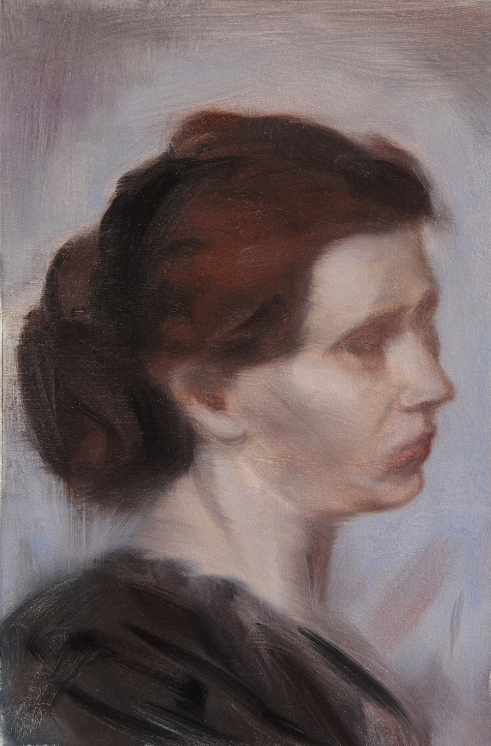Head of a Woman (after Degas), Oil on paper, 29x19cm, 2017