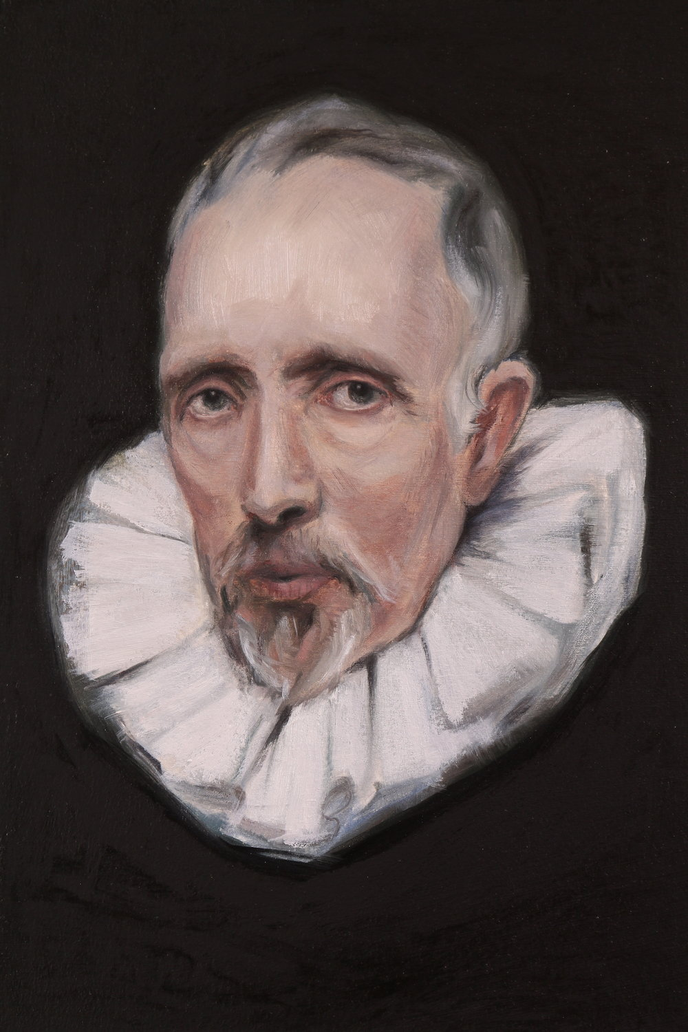 Portrait of a Man (after Van Dyck), Oil on paper, 29x19cm, 2017