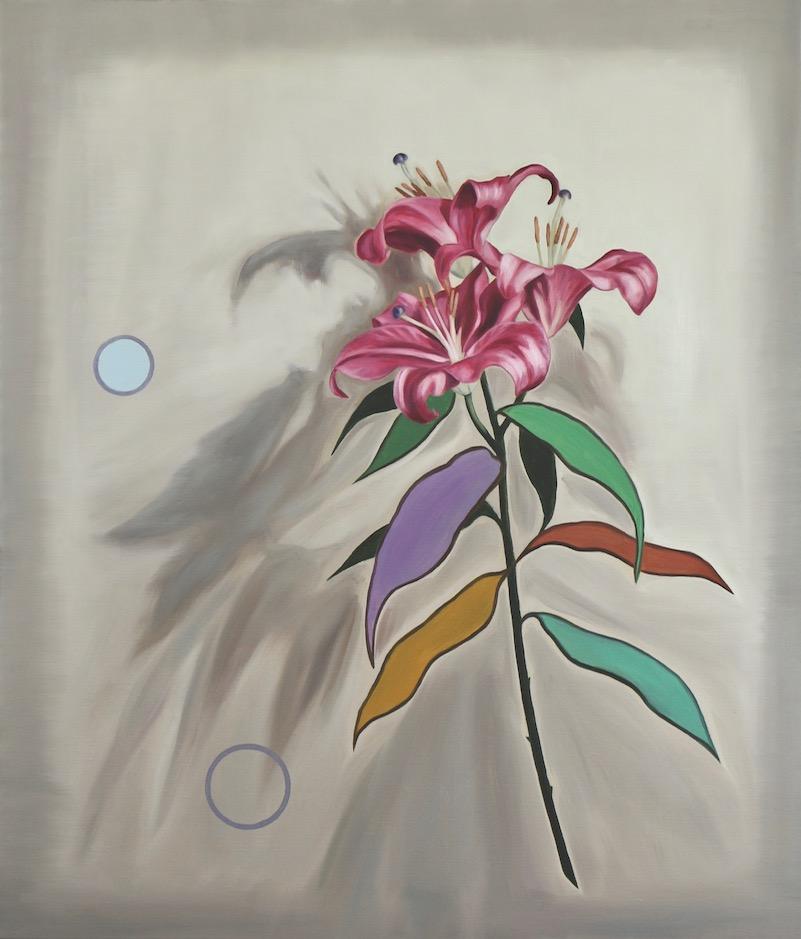 Pink Lilies with Two Circles, oil on linen, 70x60cm, 2018