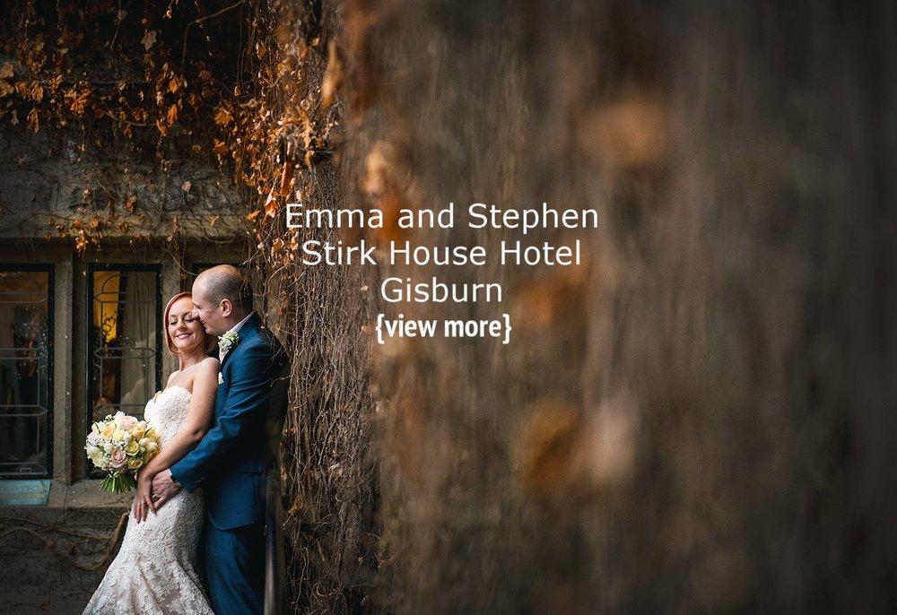 Stirk House wedding couple under autumn leaves