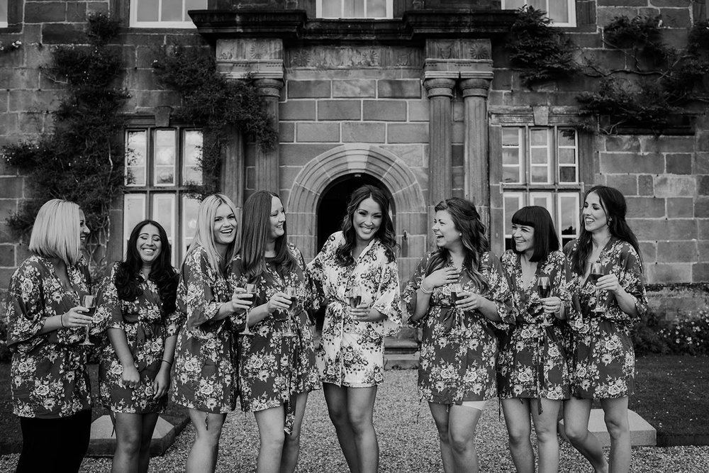 Black and white photo of bride and bridesmaids
