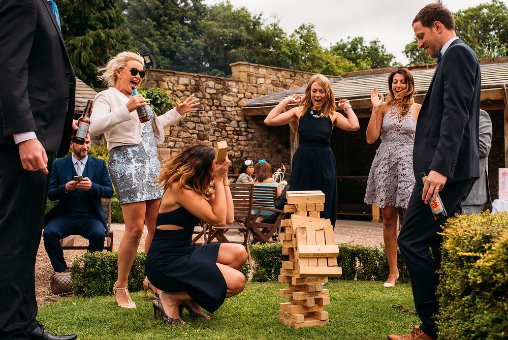 colour photo of jenga fail
