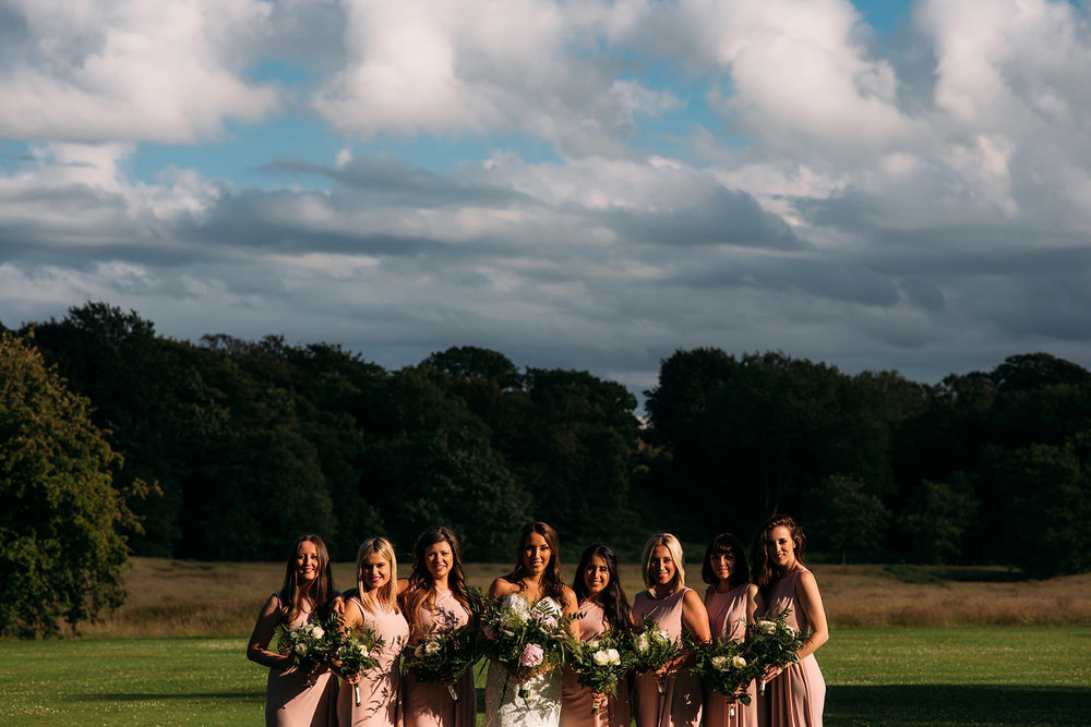 colour photo, bride and bridesmaids