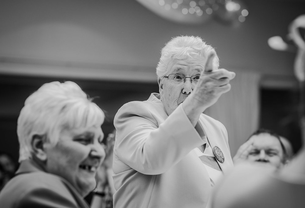 grandma pointing
