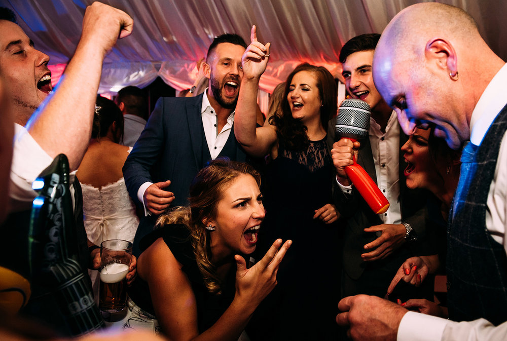 Busy dance floor action shot