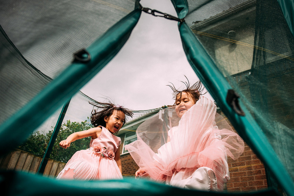 girls on a trampoline
