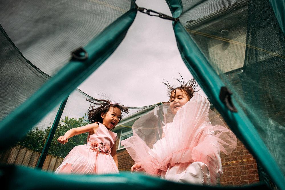 girls on a trampoline