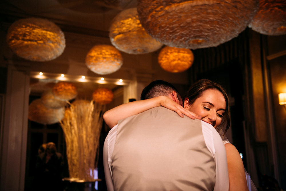 bride and groom during the first dance at Falcon manor