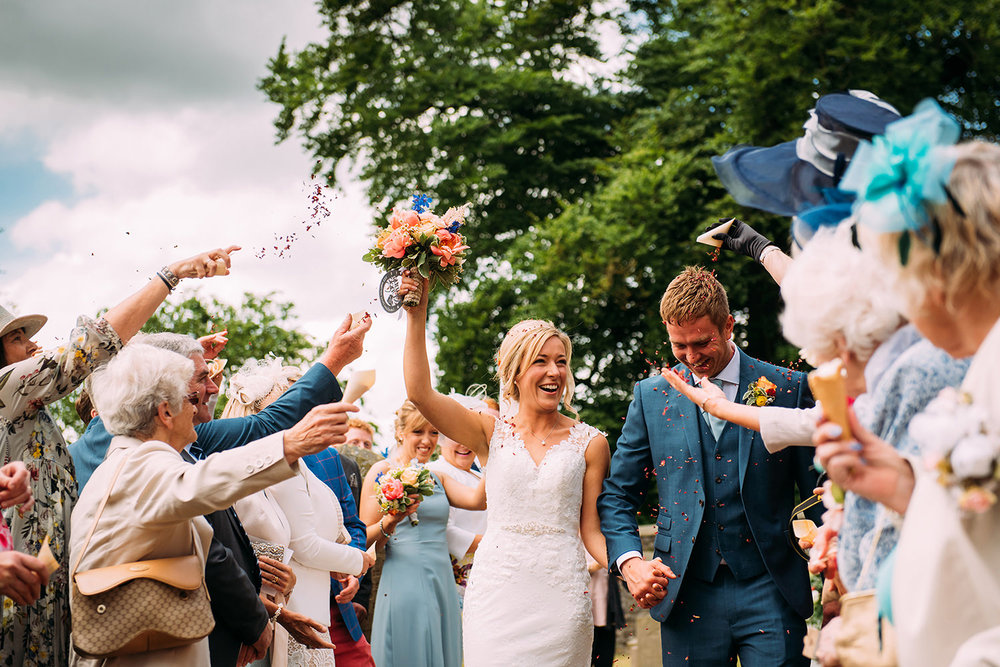 confetti shot at Downham church