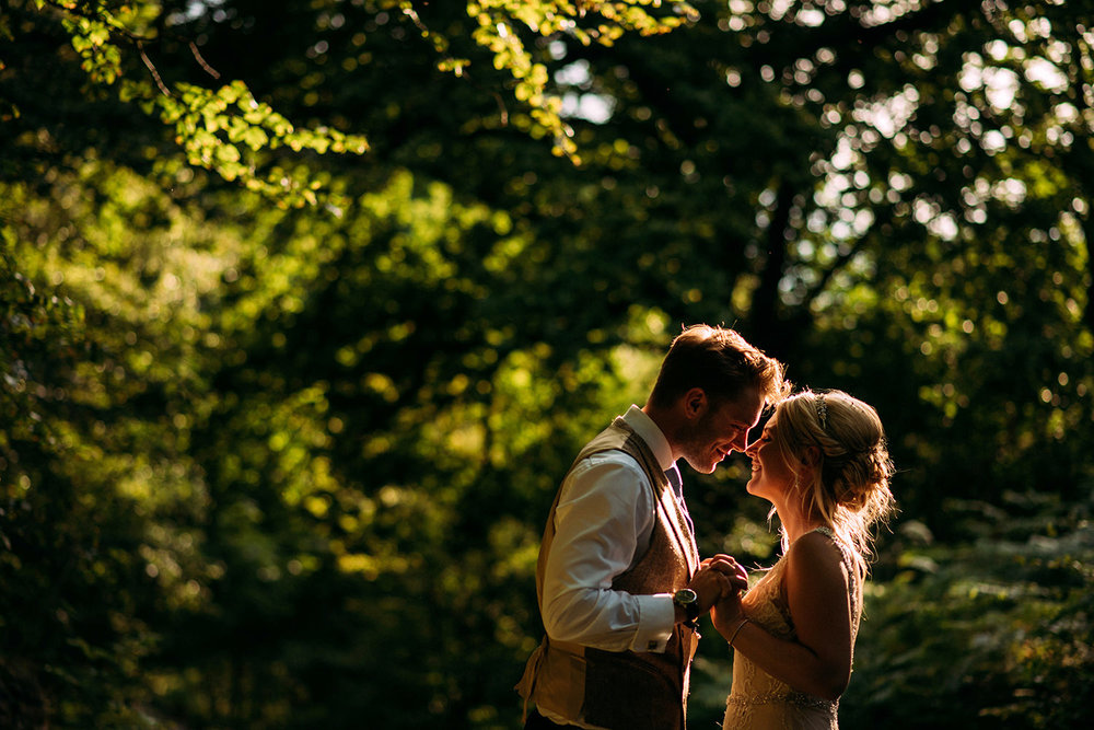couple shot in the woods - nice light