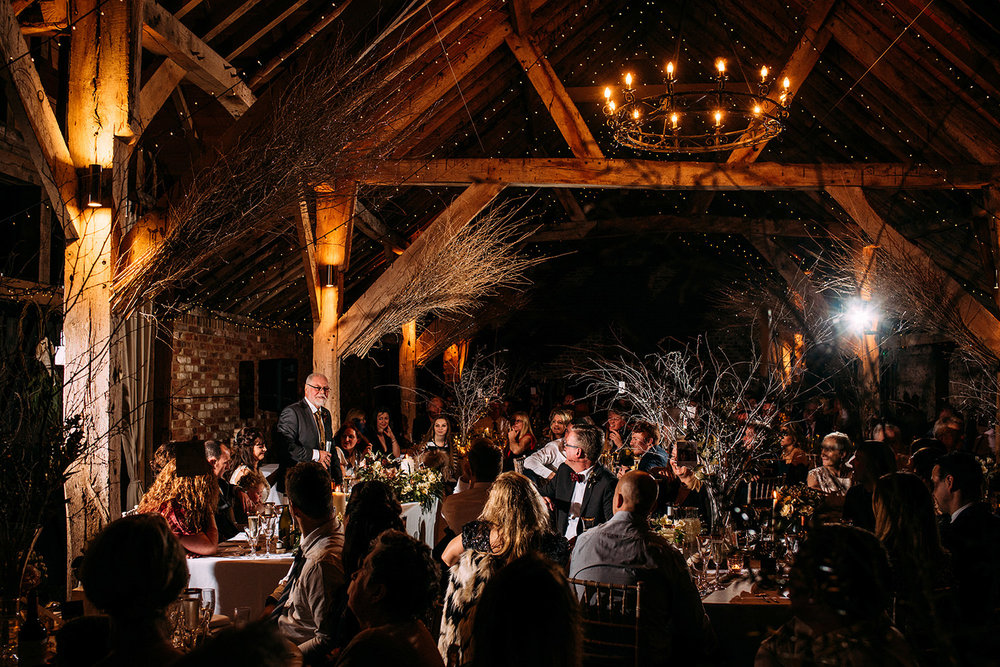 father of the bride speech in a stunning barn