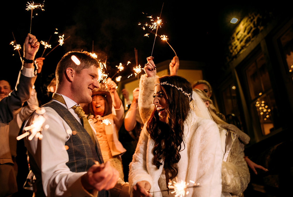 bride and groom sparkler photo