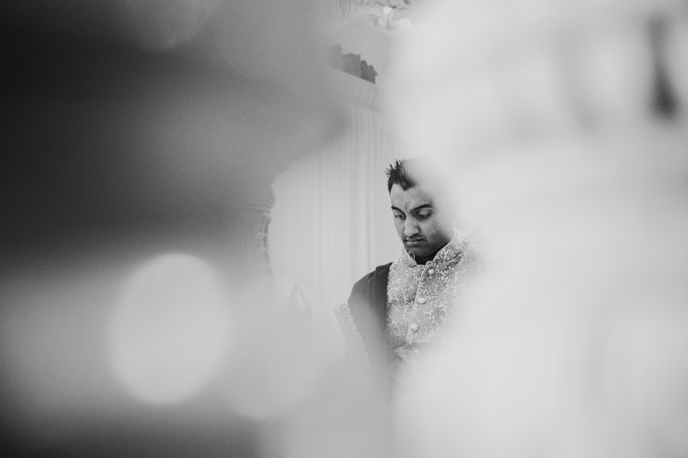 bw photo of nervous groom