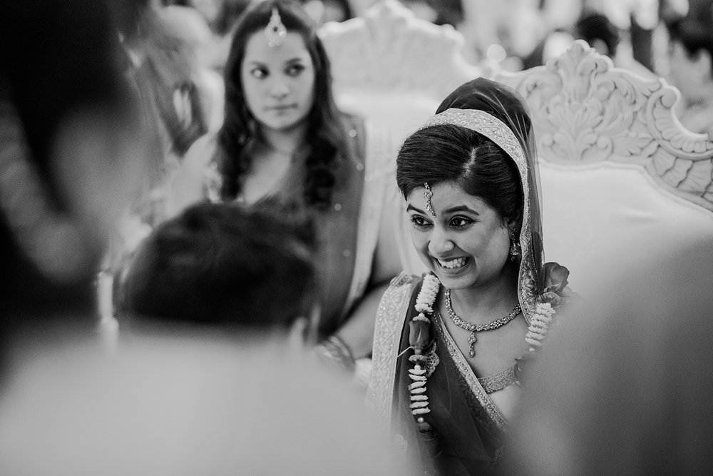 bw photo. Excited bride