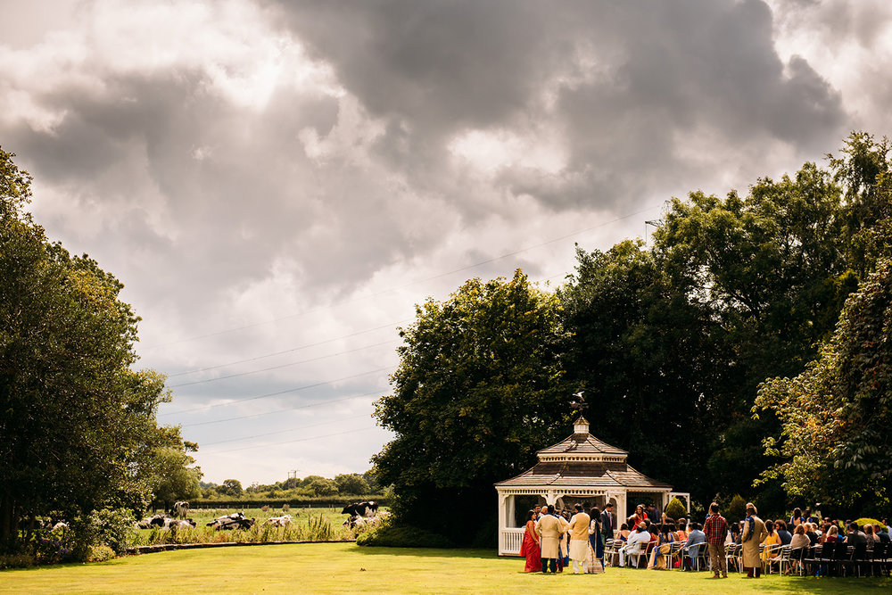 wide shot of wedding gazebo