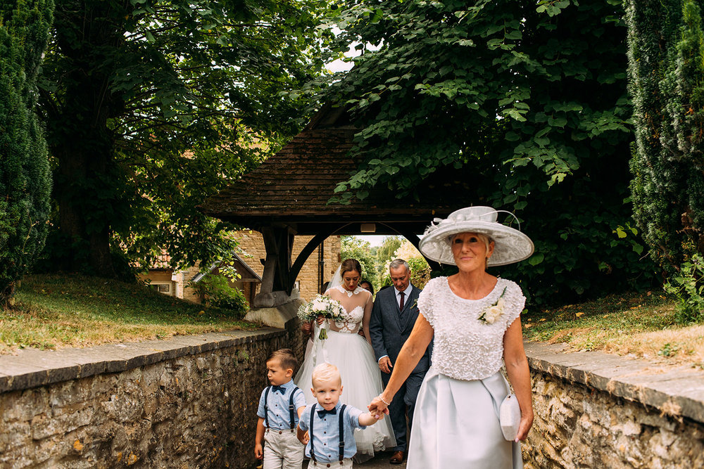 bride's mother walking to church