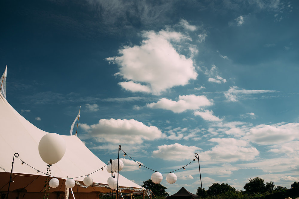 the marquee with blue sky