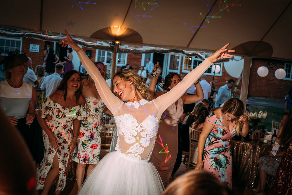 bride having a great time with friends