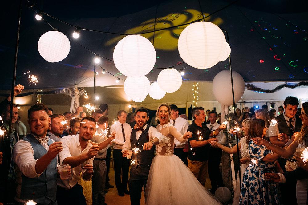 sparkler shot under the lanterns
