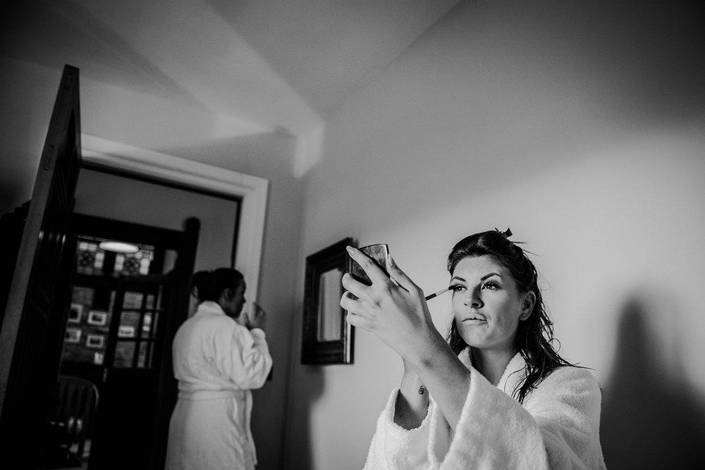 bridesmaids doing make up