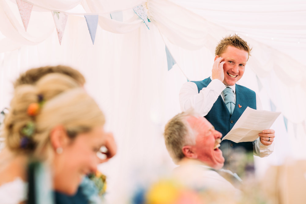 best man making everyone laugh
