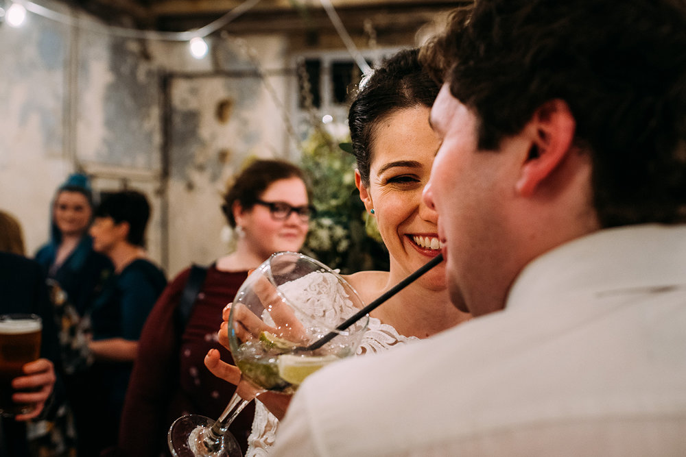 bride and friend drinking gin