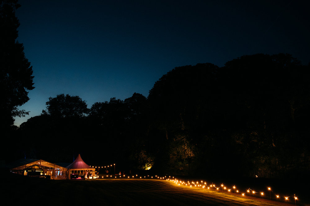 closing shot of the marquee at night